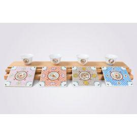 A Guangcai Porcelain Tea Set with Four Seasons Pattern