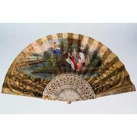 A European Gilt Folding Fan with Luodian Handle in Rococo Style 19th Century